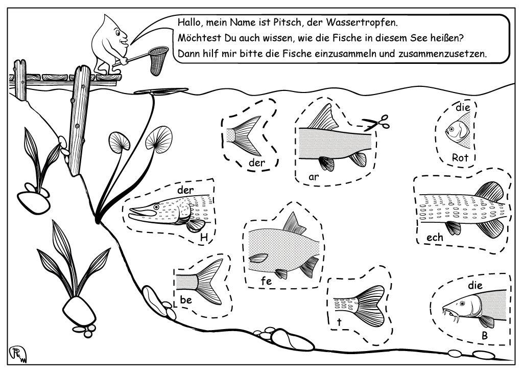 fish puzzle worksheet mr illustration markus ruchter illustration. Black Bedroom Furniture Sets. Home Design Ideas